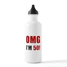 OMG 50th Birthday Water Bottle
