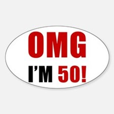 OMG 50th Birthday Sticker (Oval)