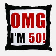 OMG 50th Birthday Throw Pillow