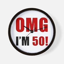OMG 50th Birthday Wall Clock