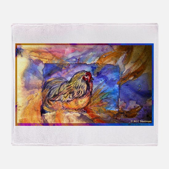Chicken, colorful, art, Throw Blanket