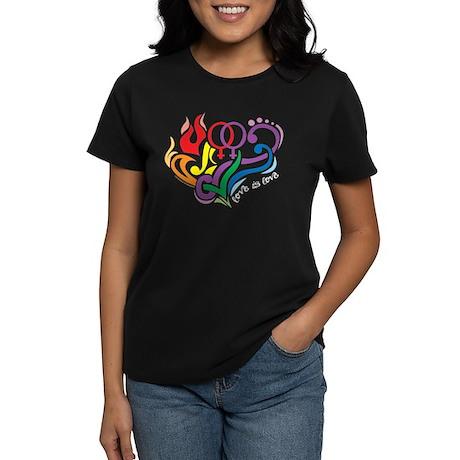 LGBT Lesbian: Love Is Love Women's Dark T-Shirt