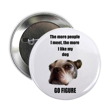 THE MORE I LIKE MY DOG (BOSTON TERRIER) Button