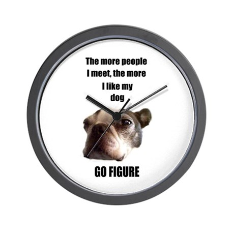 THE MORE I LIKE MY DOG (BOSTON TERRIER) Wall Clock