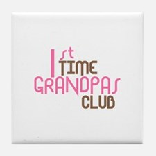 1st Time Grandpas Club (Pink) Tile Coaster