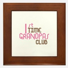 1st Time Grandpas Club (Pink) Framed Tile