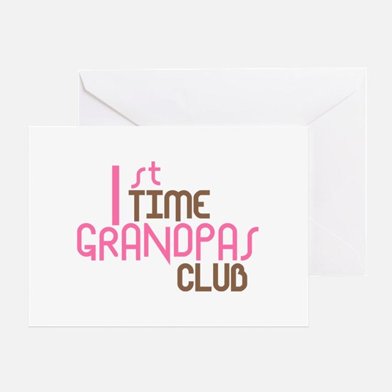 1st Time Grandpas Club (Pink) Greeting Card