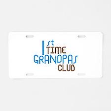 1st Time Grandpas Club (Blue) Aluminum License Pla