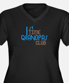 1st Time Grandpas Club (Blue) Women's Plus Size V-