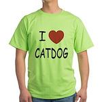 I heart catdog Green T-Shirt