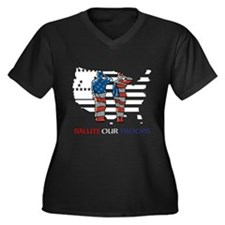 PATRIOTIC Women's Plus Size V-Neck Dark T-Shirt