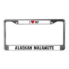 I Love My Alaskan Malamute License Plate Frame