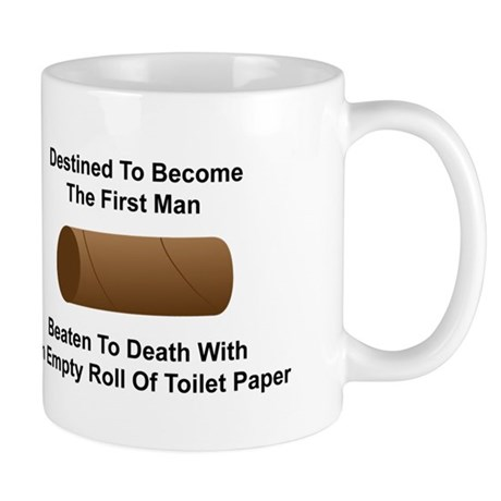 Man Beaten with Toilet Paper Roll Mug