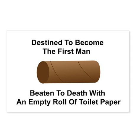 Man Beaten with Toilet Paper Roll Postcards (Packa