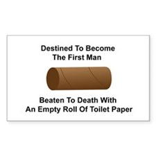 Man Beaten with Toilet Paper Roll Decal