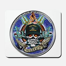 USN Navy Veteran Skull Flag Mousepad