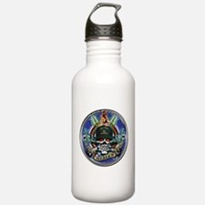 USN Navy Veteran Skull Flag Water Bottle