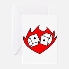 Flaming Dice Tattoo Greeting Cards (Pk of 10)