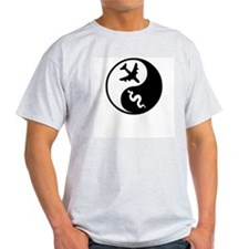 Yin Yang Snakes on a Plane Ash Grey T-Shirt