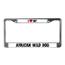 I Love My African Wild Dog License Plate Frame