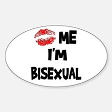 Kiss Me I'm Bisexual Oval Decal