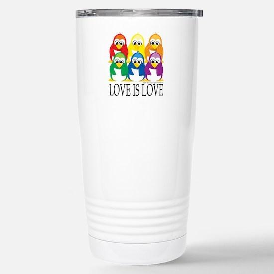 Love Is Love: Penguins Stainless Steel Travel Mug