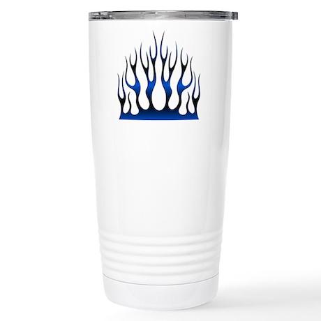 Tribal Flames Fire Blue Stainless Steel Travel Mug