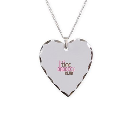 1st Time Daddies Club (Pink) Necklace Heart Charm