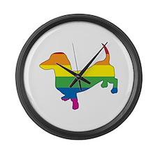 Gay Pride Dachshund Large Wall Clock