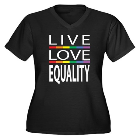 Live Love Equality Women's Plus Size V-Neck Dark T