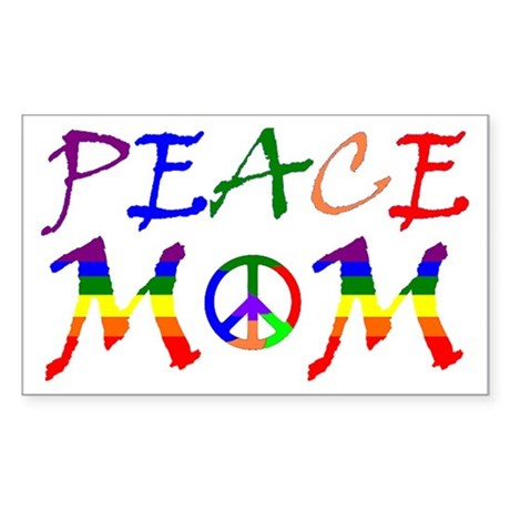 Rainbow Peace Mom Rectangle Sticker