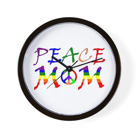 Rainbow Peace Mom Wall Clock