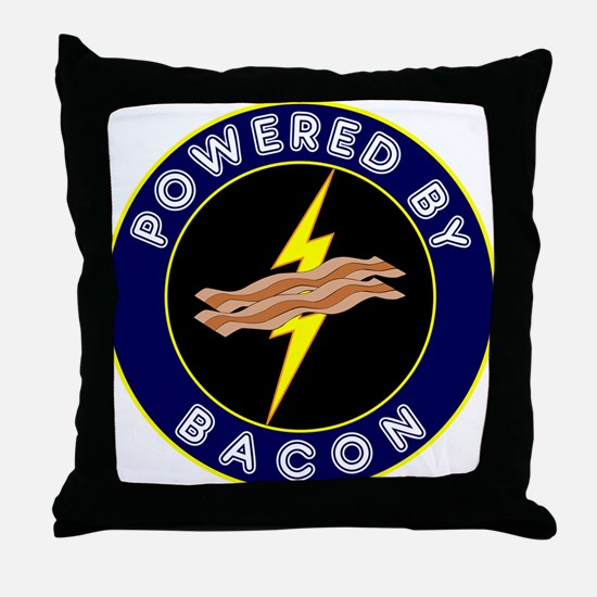 Powered By Bacon Throw Pillow