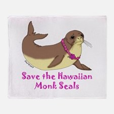 Monk Seal Throw Blanket