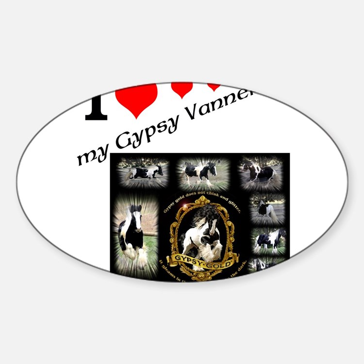 Cute Gypsy vanner horses Sticker (Oval)