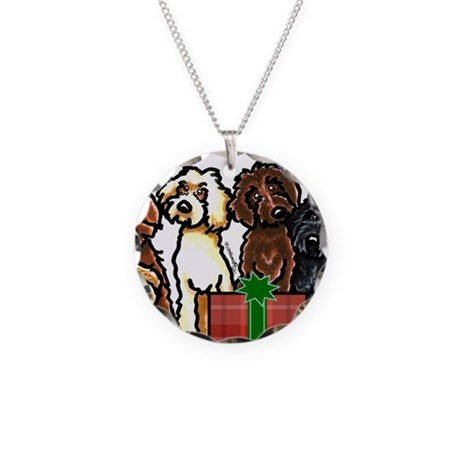 Labradoodle Christmas Necklace Circle Charm