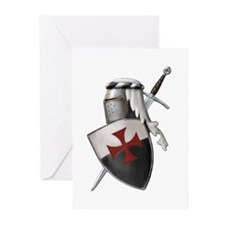 Templar shield with white top Greeting Cards (Pk o