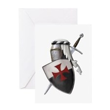 Templar shield with white top Greeting Card