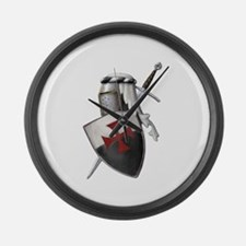 Templar shield with white top Large Wall Clock