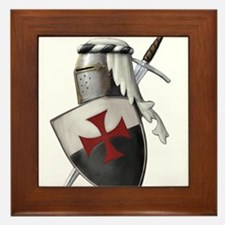 Templar shield with white top Framed Tile