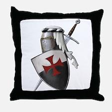 Templar shield with white top Throw Pillow