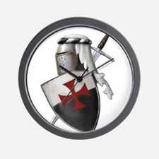 Templar shield with white top Wall Clock