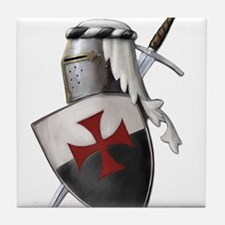 Templar shield with white top Tile Coaster