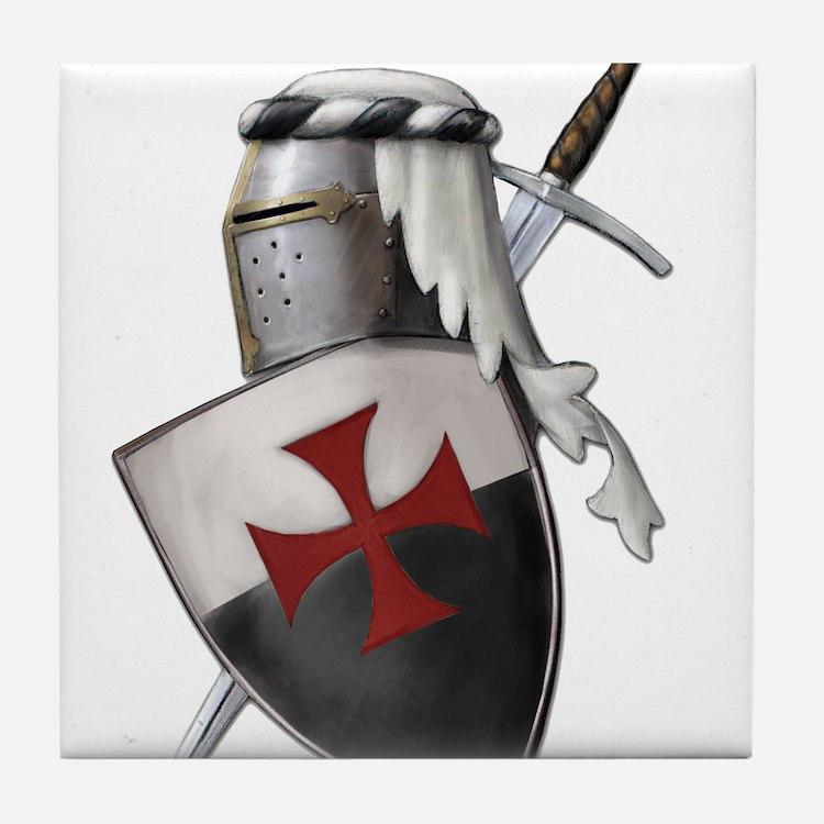Templar shield with white top Tile Coaster
