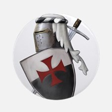 Templar shield with white top Ornament (Round)