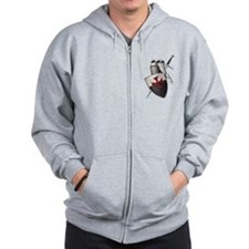 Templar shield with white top Zip Hoodie
