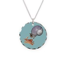 Shell Cat Crab Blue Necklace