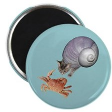Shell Cat Crab Blue Magnet