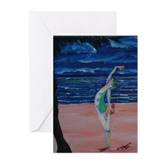 yoga frog balance on the beach Greeting Cards (Pk