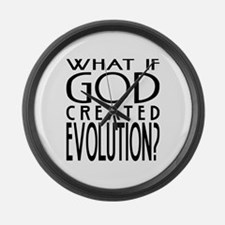 God Created Evolution Large Wall Clock